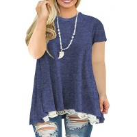 AURISSY Womens Plus-Size Tops Summer Lace Shirts A-Line Short Sleeve Tunic at  Women's Clothing store