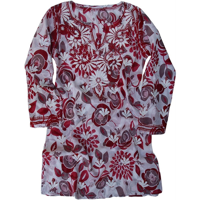 Ayurvastram Pure Cotton Light Weight Printed Hand Embroidered Tunic Top Kurti; Red; Plus Size 22W at Women's Clothing store Tunic Shirts