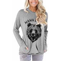 Blooming Jelly Women's Cute Mama Bear Shirt Graphic Long Sleeve Crewneck Loose Pocket Tunic TopGrey M at  Women's Clothing store
