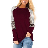 Camisunny Striped Long Sleeve Tunic Tops Shirts for Women Color Block Fall Winter Blouses Round Neck Casual Loose Fit at  Women's Clothing store