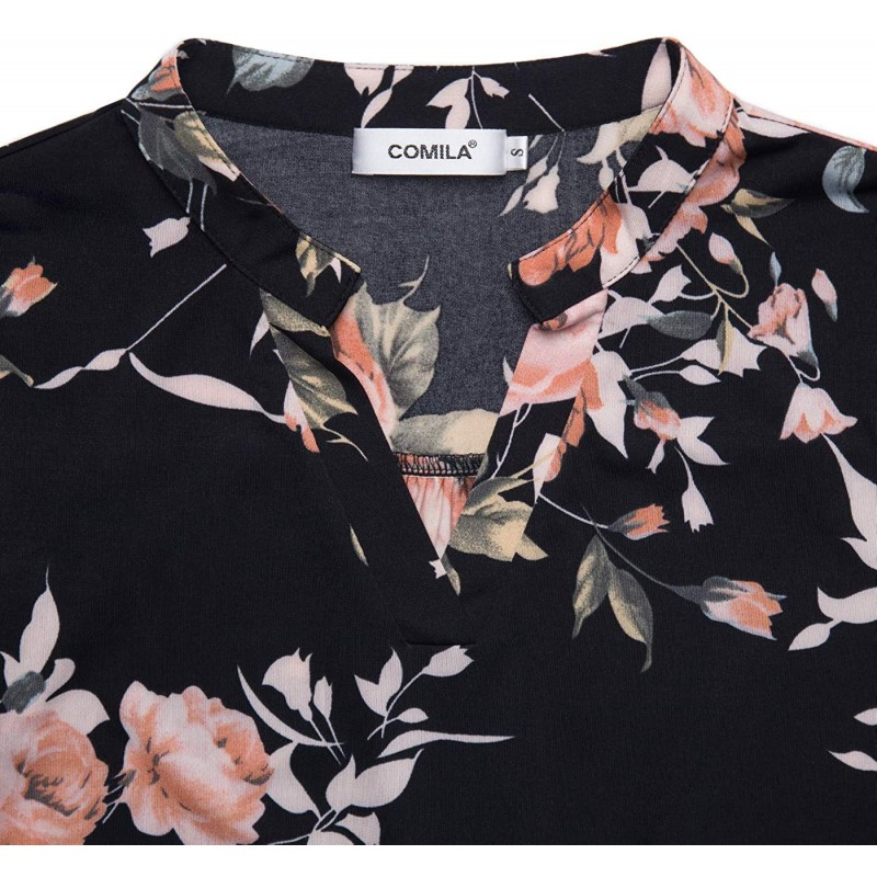 Comila Women's Floral Tunics Blouse 3 4 Roll Sleeve V Neck Flowy Loose Tunic Top