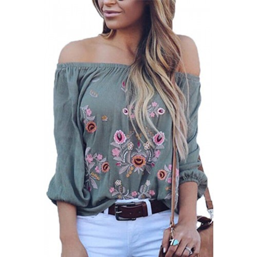 CONMEN Women Off Shoulder Chiffon Loose Shirts Bohemian Floral Printed Embroidered Strapless Tunic Blouses Shirts at  Women's Clothing store