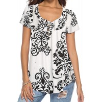 DEMO SHOW Women's Tunic Top Loose Long Sleeve V Neck Button Up Pleated Floral Henley Shirts Blouse T Shirt A-White XL at  Women's Clothing store