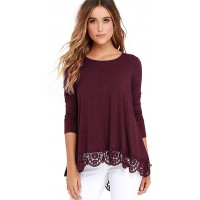 detimi Women Long Sleeve Lace Trim O-Neck A-Line Tunic Loose Blouse Burgundy L at  Women's Clothing store