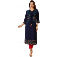 DREAMANGEL FASHION Womens Rayon Boat Neck Gold Printed Kurti with Jacket at  Women's Clothing store