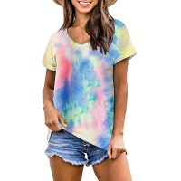 Eurivicy Women's Fashion Tie Dye T-Shirt Summer Casual Short Sleeve V-Neck Tunic Tops at  Women's Clothing store