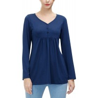 Fall Tops for Women Long Sleeve Casual Loose Tunic Top Comfy Casual Tunic Tops BlousesNavy XL at  Women's Clothing store