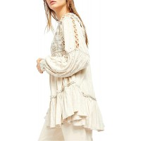 Free People Women's Much Love Tunic in Salt Size X-LARGE White at  Women's Clothing store