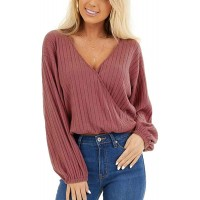 Fronage Women's Long Sleeve Ribbed Shirts V Neck Wrap Knit Tops Casual Blouses at  Women's Clothing store