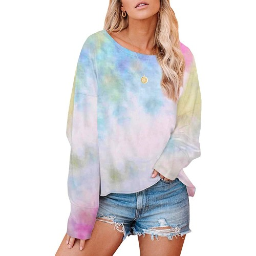 Geckatte Womens Tie-dye Printed Lightweight Round Neck Shirts Long Sleeve Loose Casual Pullover at  Women's Clothing store