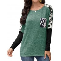 herdress Women's Long Sleeve Shirts Leopard Print Color Block Tunic Tops with Pocket at  Women's Clothing store