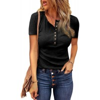 Hiyolala Women Scoop Neck Buttoned Front Short Sleeve Tunic Top at  Women's Clothing store