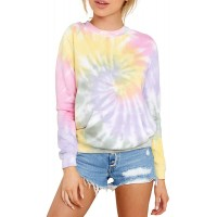 HVEPUO Tie Dye Print Hoodie Long Sleeve Drawstring Pullover Tops Loose Casual Sweatshirt for WomenS-XXL at  Women's Clothing store