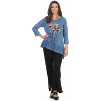 Jess & Jane Women's Country Posy Mineral Washed Cotton Wavy Asymmetric Tunic Top at  Women's Clothing store