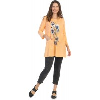 Jess & Jane Women's Felicity Mineral Washed Cotton Tunic with Linen Contrast at  Women's Clothing store