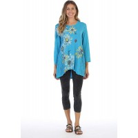 Jess & Jane Women's Flor Medley Contrast High Low Mineral Washed Cotton Tunic at  Women's Clothing store
