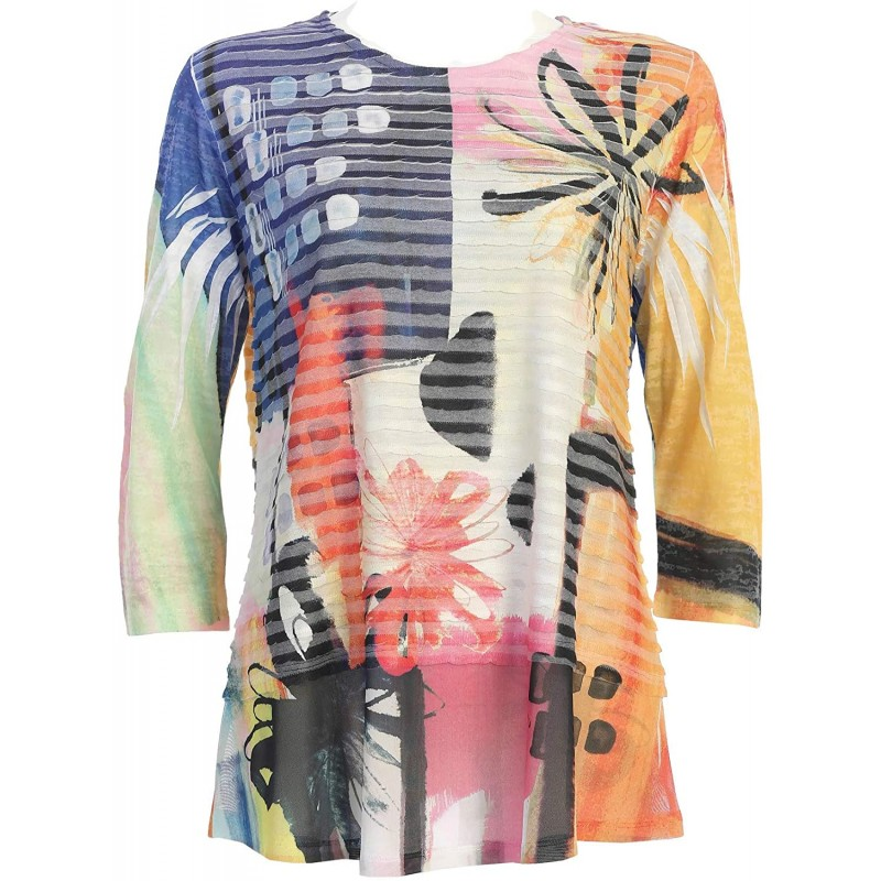 Jess & Jane Women's Provence Wavelet Tunic Top with Mesh Contrast at Women's Clothing store