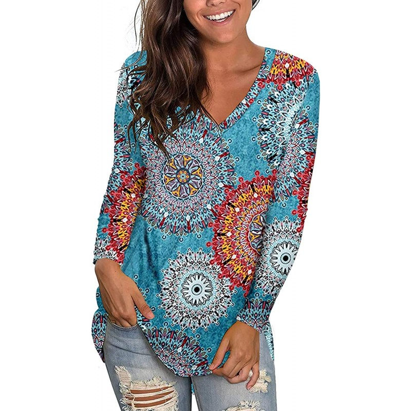 Kancystore Womens Long Sleeve V Neck Floral Print Casual Loose Tunic Tops Shirts Blouses at Women's Clothing store