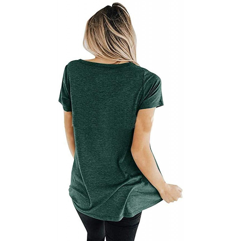 LXYD Women's Cross V Neck Short Sleeve Casual Loose Tunic Shirt Blouse Top at Women's Clothing store