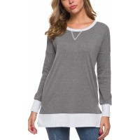Malist Long Sleeve Tunic Tops with Pockets Color Block Shirt Pullover