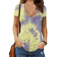 MANGOPOP Women's Short Sleeve V Neck Oversized Loose Casual T Shirt Tunic Tops Tee Tie-dye 20034-1 X-Large at  Women's Clothing store