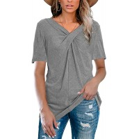 Maroway Womens V Neck Cross Knot T Shirts Short Sleeve Casual Solid Tunic Tops Basic Blouse Tees at  Women's Clothing store