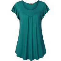 MCKOL Women Blouses for Work Fashion Plus Size Summer Short Sleeve Pleated Front Swing Tee Shirts for Office Loose Fitting Round Neck Basic Tunic Tops Dark Cyan XL