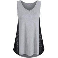 Misswor Womens Summer Lace Patchwork Tank Tops Sleeveless Casual Flare Tunics at  Women's Clothing store