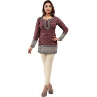 PrimeSons Women's Full 3 4 Sleeve Traditional Print Indian Kurtis Tunics Tops for Women Multi Dress Size 3XL 48 Color Pink at  Women's Clothing store
