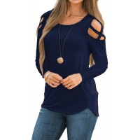 Rdfmy Women's Lace Long Sleeve Tops Casual Round Neck Top Blouses at  Women's Clothing store