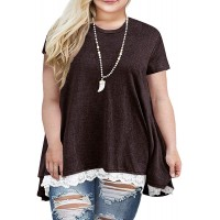 Sanifer Women Plus Size Lace Short Sleeve Tunic Tops T Shirts 26W Coffee at  Women's Clothing store