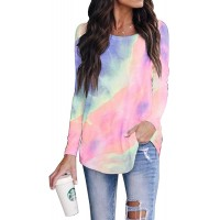 SAUKOLE Women's Long Sleeve Workout Shirts Round Neck Cute Printed Tunic Tops Loose Activewear Sports Shirt Blouse at  Women's Clothing store