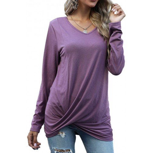 Sherosa Womens Twist Knot Long Sleeve Shirts Fall V Neck Loose Tunic Tops for Leggings at  Women's Clothing store