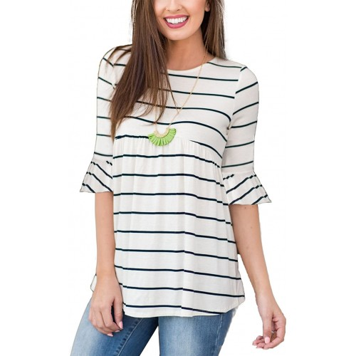 TongKiKi Women's Casual Scoop Neck Half Ruffle Sleeve Floral Tops Tunic White-Stripe XXL at  Women's Clothing store