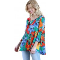 Umgee Women's Floral Split Sleeve High Low Knit Top at  Women's Clothing store