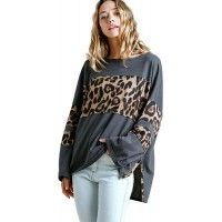 Umgee Women's Leopard High Low Top at  Women's Clothing store