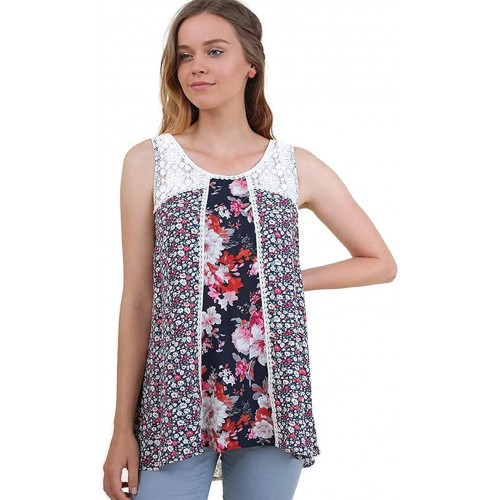 Umgee Women's Twin Print Lace Sleeveless Tunic Top Small Navy Mix at  Women's Clothing store