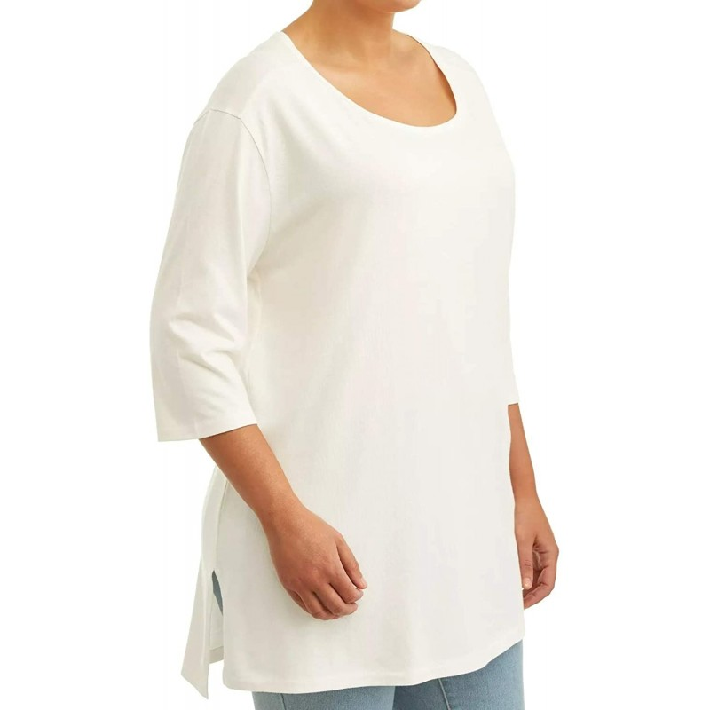 Winter White Plus Size Tunic Length Scoop Neck Tee at Women's Clothing store