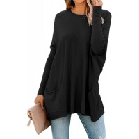 Wolddress Womens Casual Long Sleeve Tunic Tops Loose Crewneck Shirts Blouse with Pockets at  Women's Clothing store
