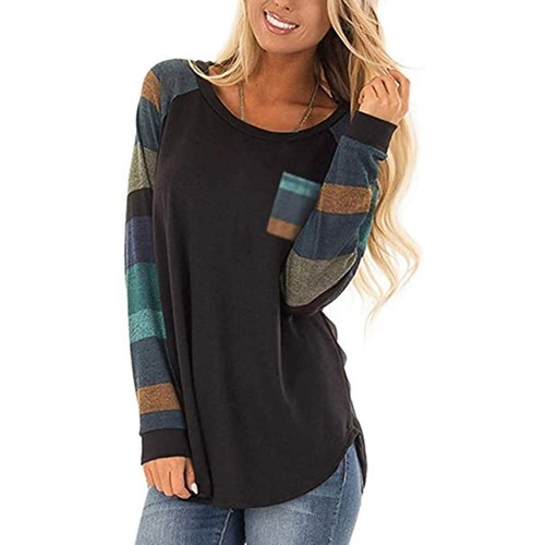 Women Cotton Knitted Long Sleeve Lightweight Tunic Sweatshirt Tops Black Large at  Women's Clothing store