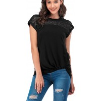 Womens Casual T Shirts Comfy Loose Cotton Short Sleeve Lace Tunic Tops at  Women's Clothing store