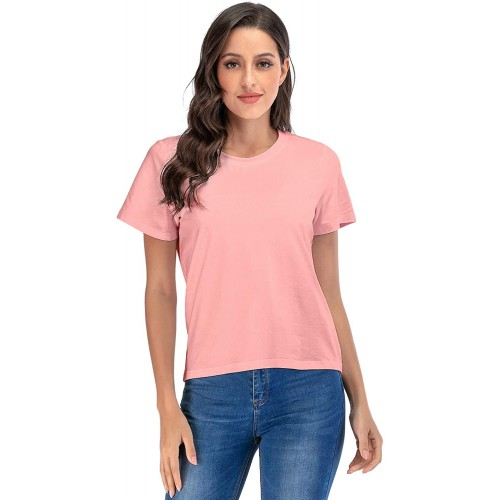 Womens Classic-Fit Short-Sleeve Round Neck T-Shirt Casual Tunic Summer Tops at  Women's Clothing store