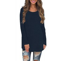Womens Long Sleeve Crew Neck Plain Loose Fit Casual Shirt Tunic Tee Tops Navy Shirt S at  Women's Clothing store