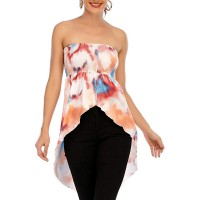 Women's Sexy Pleated Stretch Tunic Tanks Tube High Low Asymmetrical Tops at  Women's Clothing store