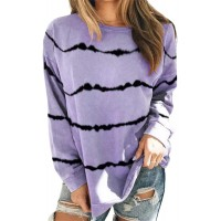 Women's Tunic Round Neck Long Sleeve T Shirts Striped Casual Blouses Tops at  Women's Clothing store