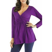 Women's V Neck Empire Waist Tops Long Sleeve Twist Front Pleated Flare Blouse Shirt at  Women's Clothing store