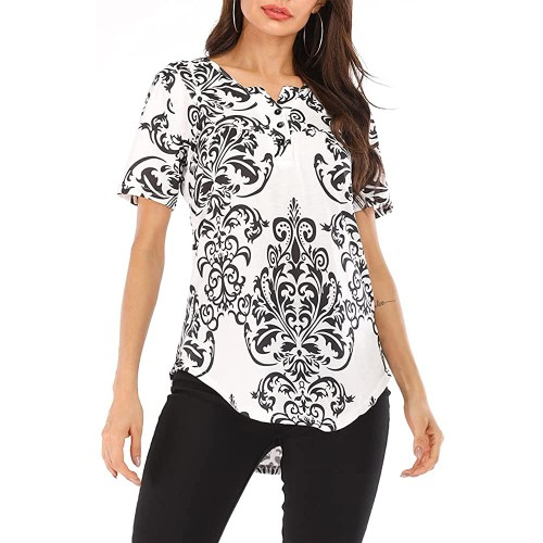 Xixiuly Women's Summer Short Sleeve V Neck Paisley Print Blouses Shirts Casual Tunic Top