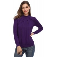 Yesfashion Women Long Sleeve Scoop Neck Twisted Pleated Tops Blouse at  Women's Clothing store